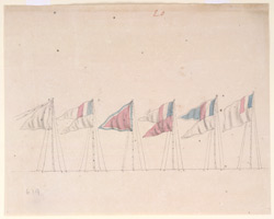 Flags of the French Corps at the Nizam of Hyderabad's encampment